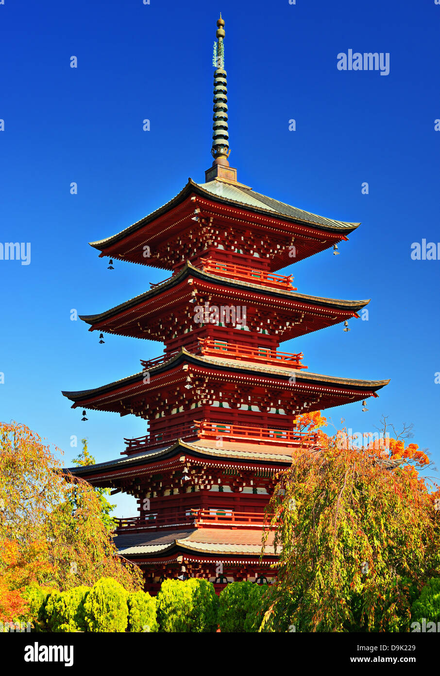 The five-story pagoda of Saishoin Temple in Hirosaki, Japan was built in 1667. - Stock Image