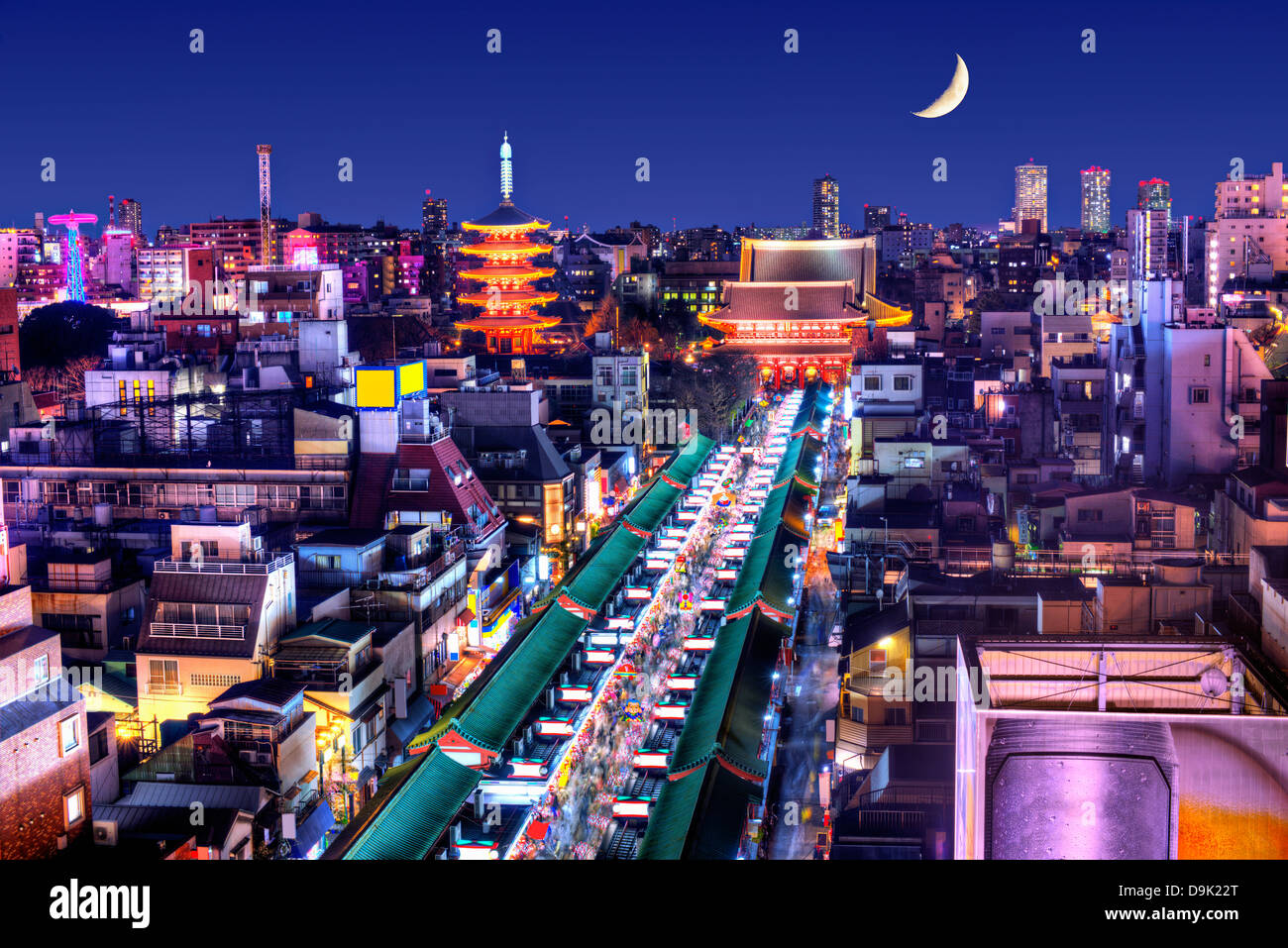 Skyline of the Asakusa District in Tokyo, Japan with famed temples. - Stock Image