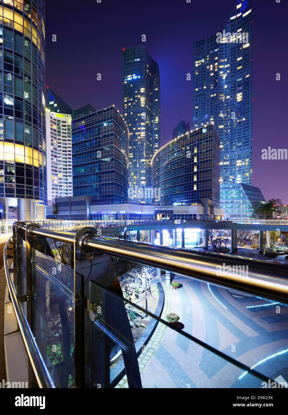 Cityscape of luxury high rises in the Haeundae district of Busan, South Korea at night. - Stock Image