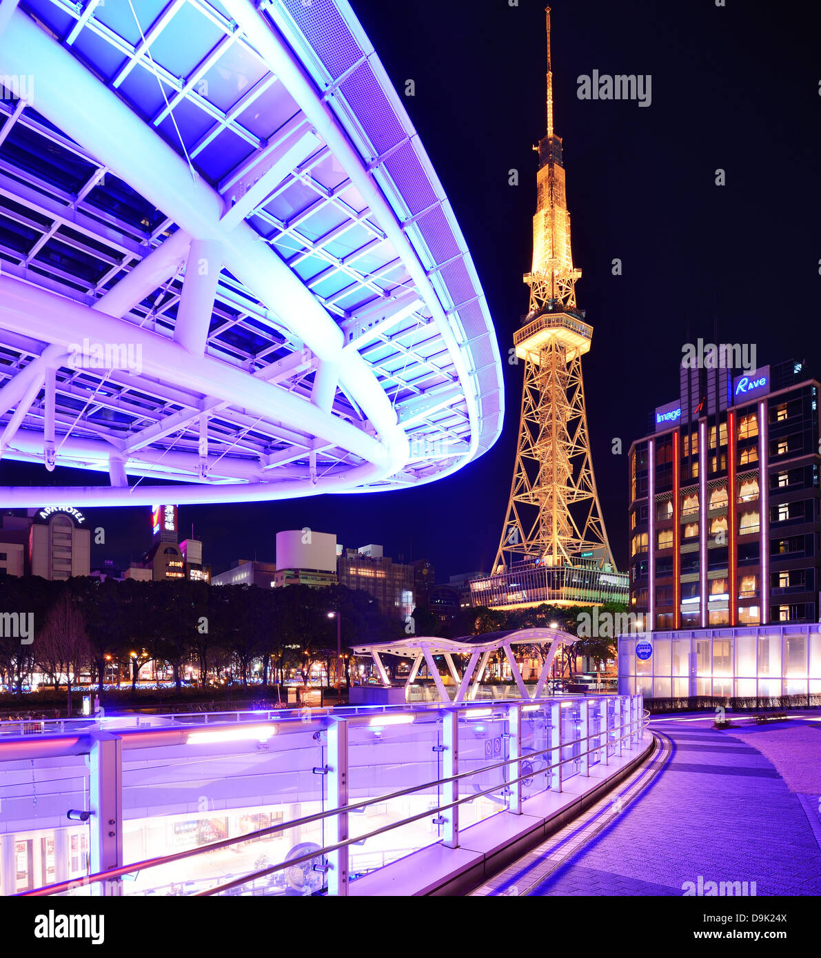 Nagoya, Japan at Oasis 21 and TV Tower. - Stock Image