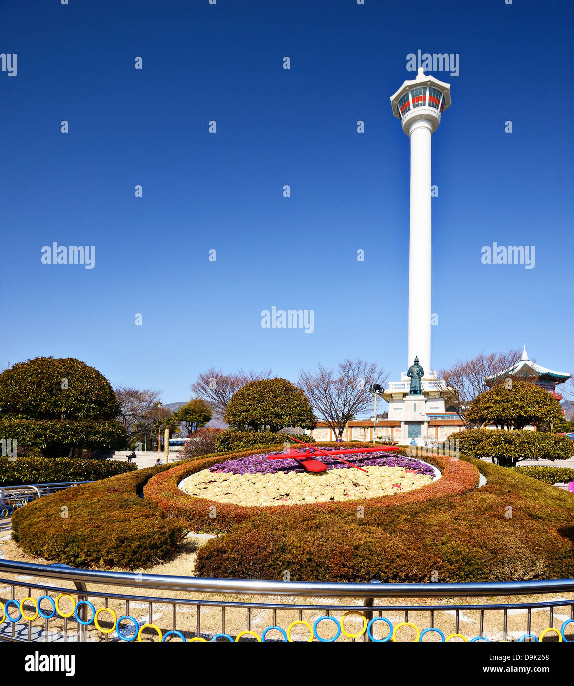 Busan, South Korea - February 11, 2013: Tourists at Busan Tower. The tower is a 118 meters high and was built in - Stock Image