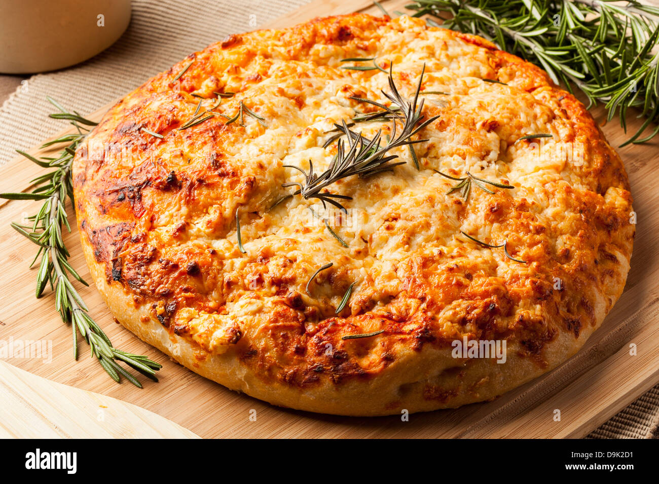 Fresh Homemade Italian Focaccia Bread with rosemary - Stock Image
