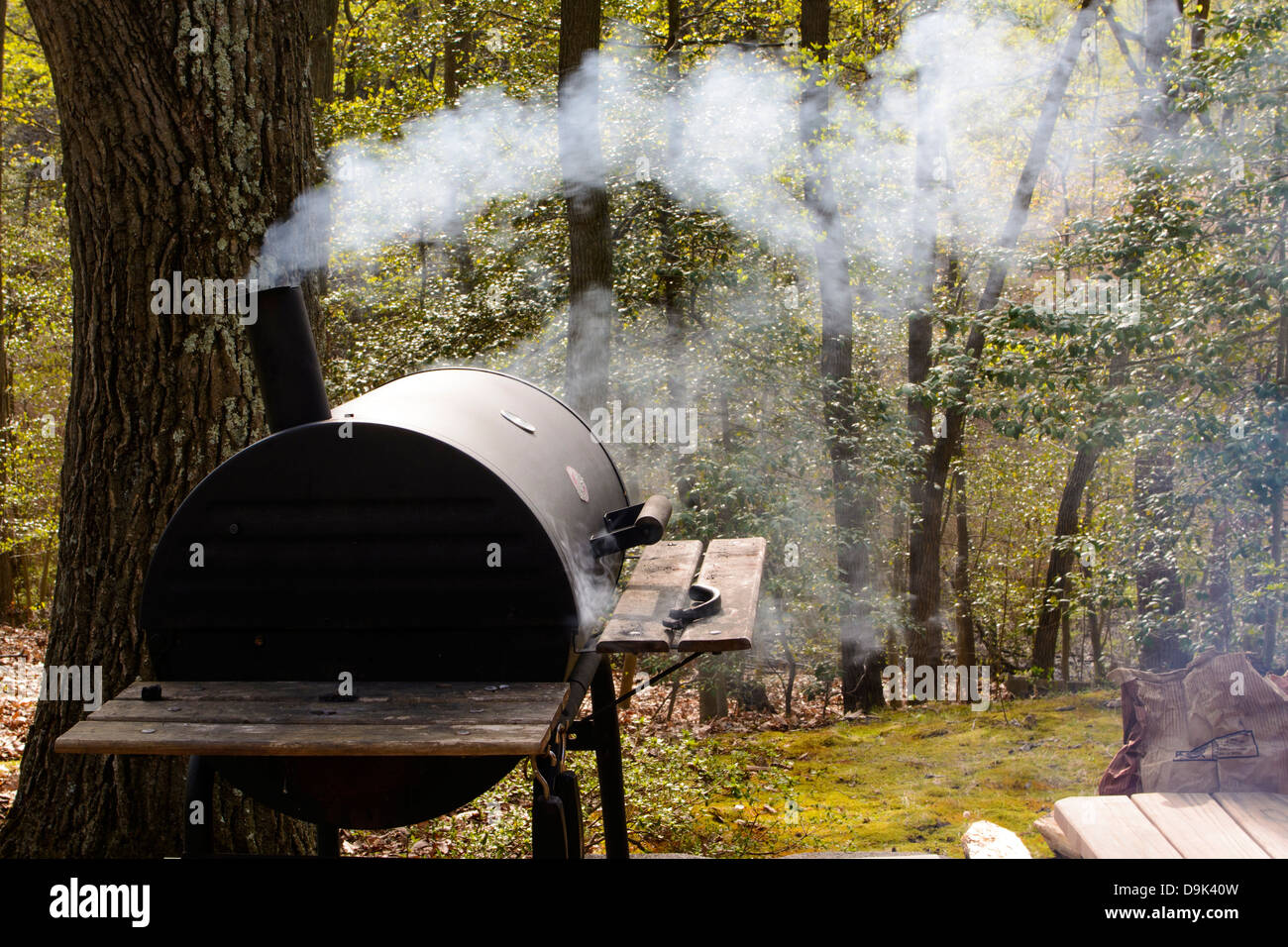 Charcoal barbecue grill/ smoker with smoke - Stock Image