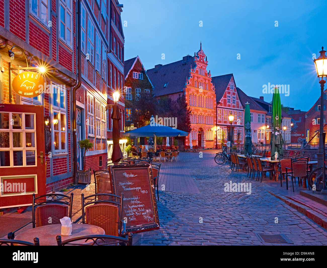 Houses at Old Hanse harbour and Hintze House, Hanseatic city of Stade, Lower Saxony, Germany - Stock Image