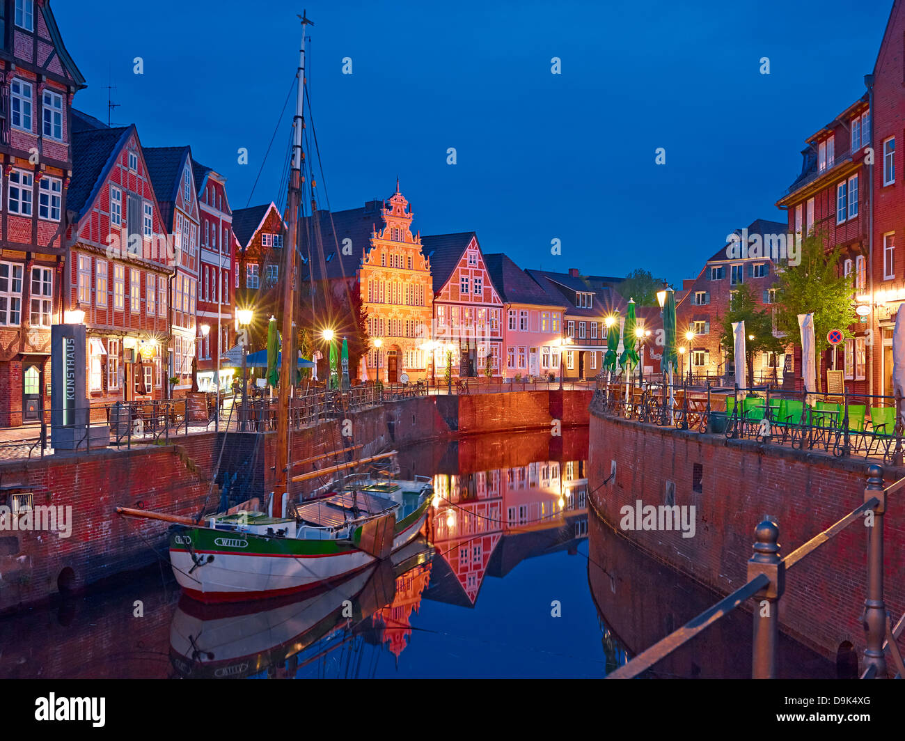 Houses at Old Hanse harbour of the Hanseatic city of Stade, Lower Saxony, Germany - Stock Image