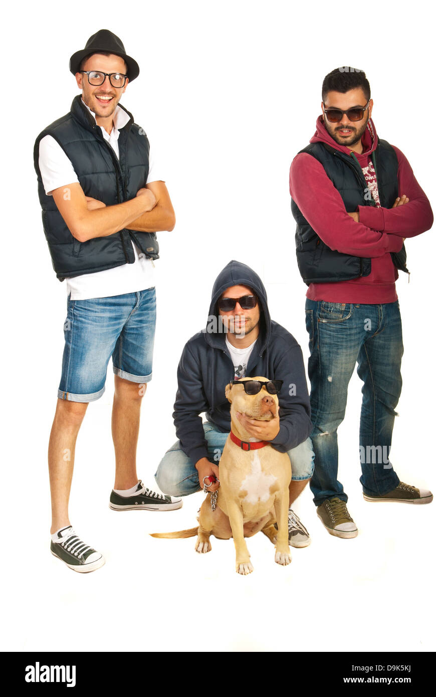 328e06aa9802 Funky hip hop members with pitbull dog isolated on white background ...