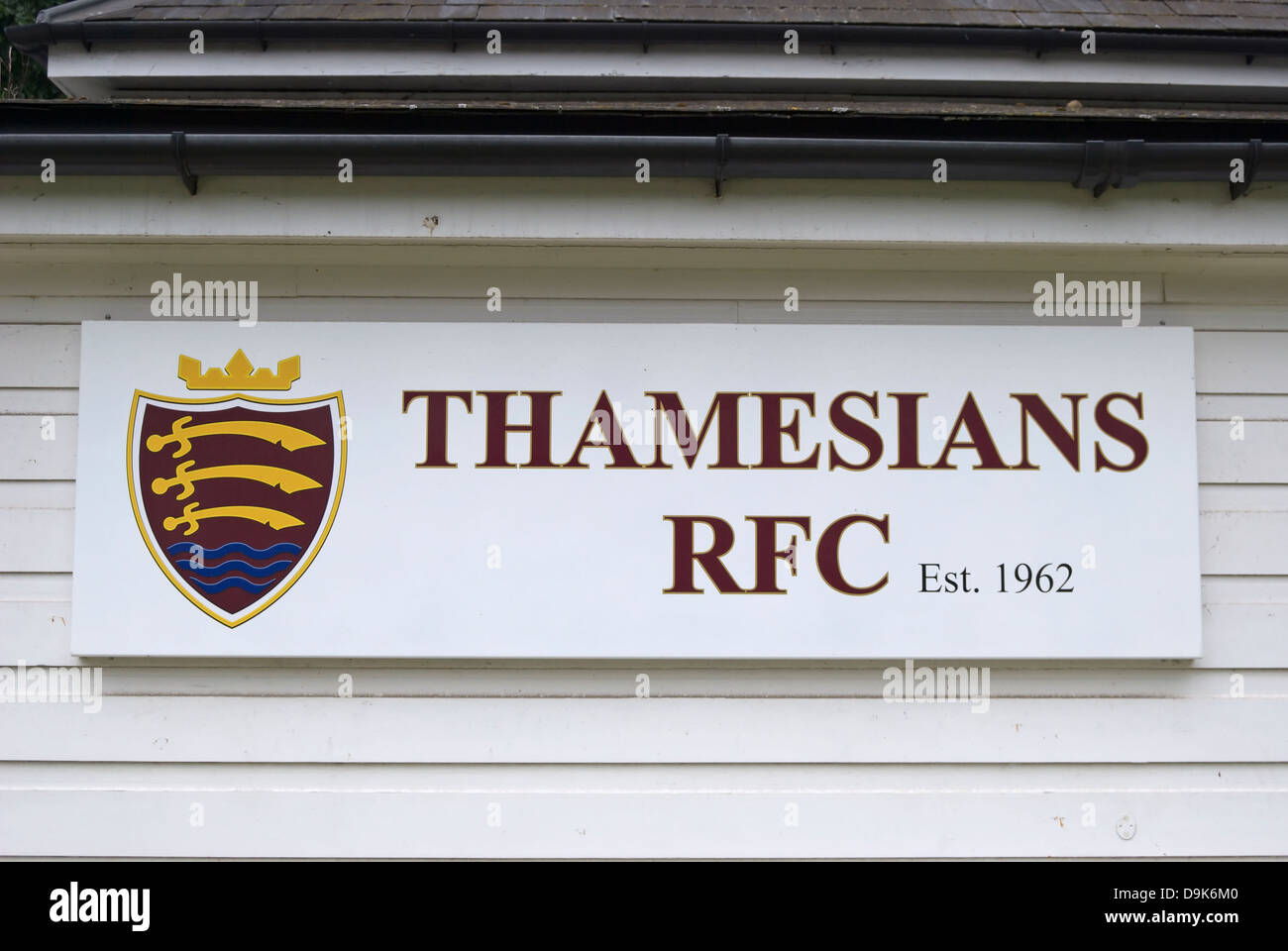 sign with crest for thamesians rfc, an amateur rugby club,  twickenham, middlesex, england - Stock Image