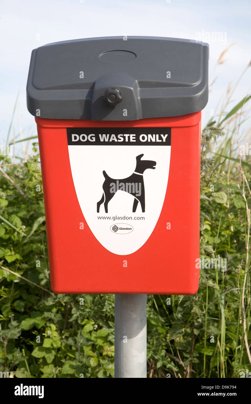 Red bin for dog waste only - Stock Image
