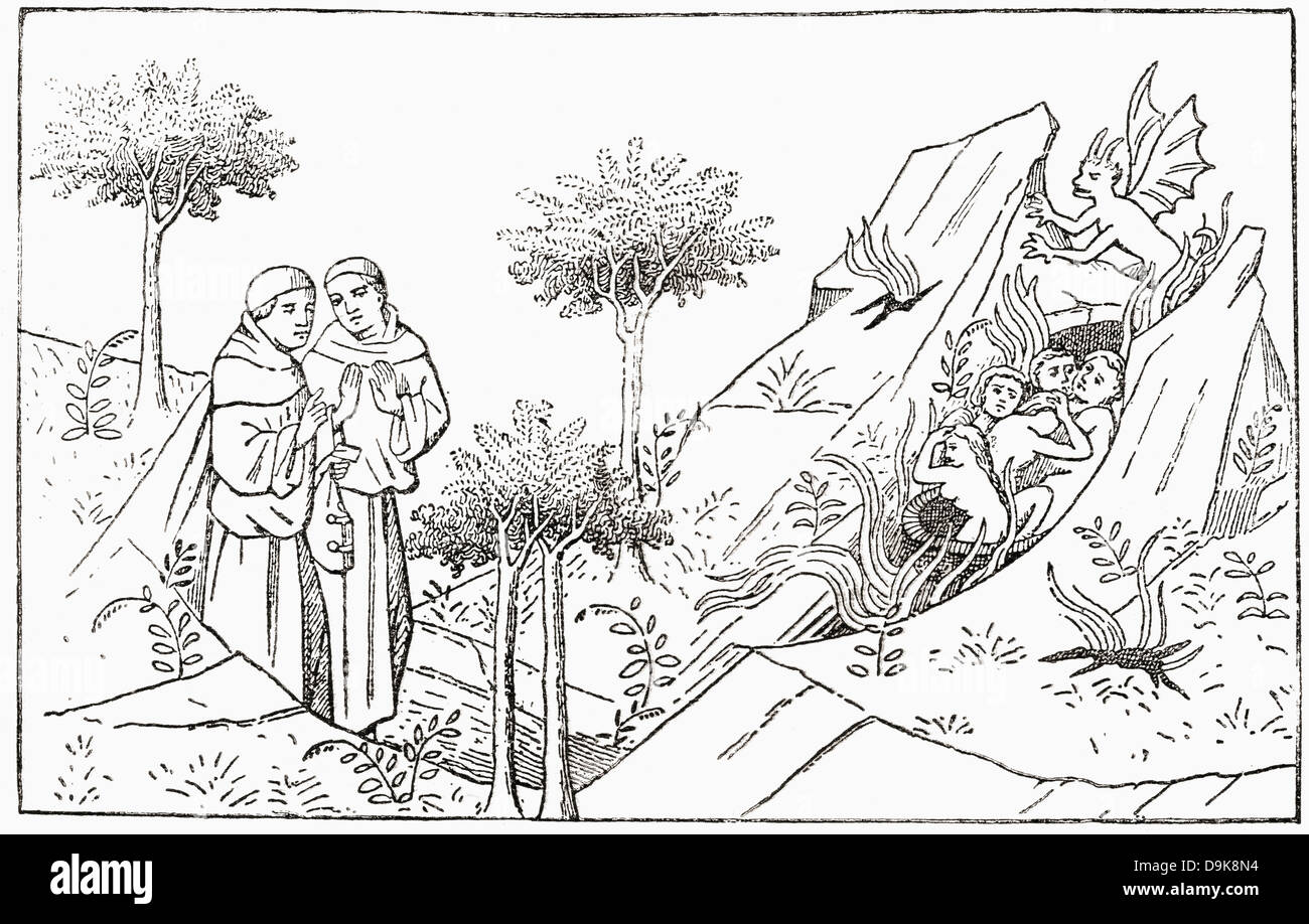 Friar Oderic arrives at purgatory. Odoric or Oderic of Pordenone. Italian late-medieval Franciscan friar and missionary - Stock Image