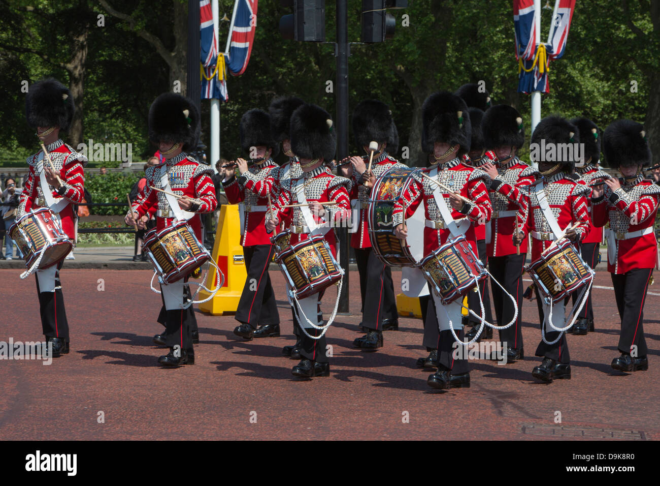The band of the Welsh Guards marching in London. Stock Photo