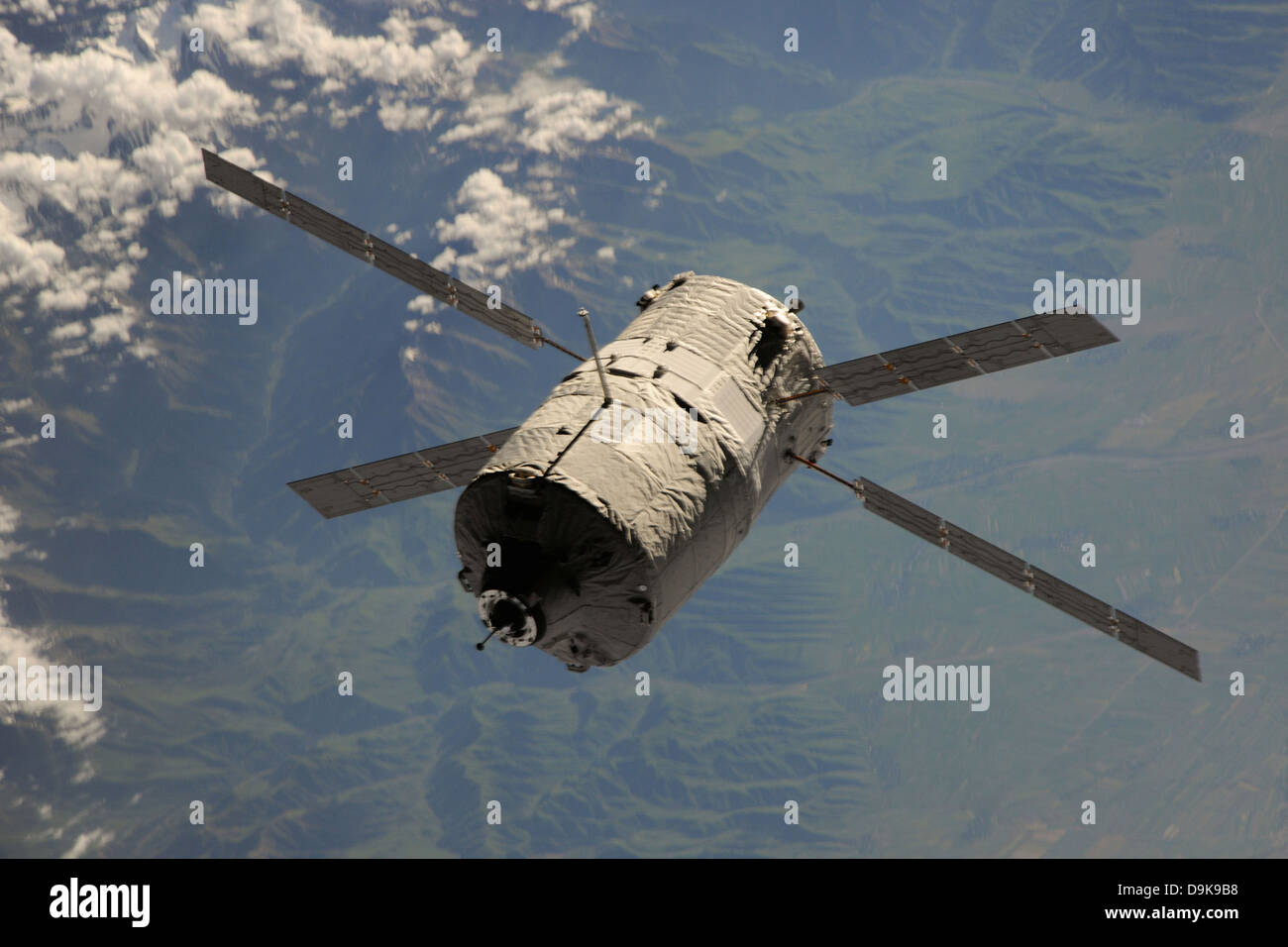 European Space Agency supply and support ferry the Automated Transfer Vehicle called Albert Einstein approaches - Stock Image