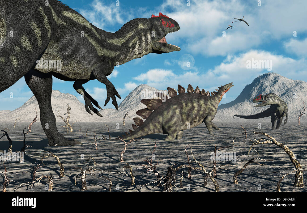 Death Trap.A Pair Of Allosaurus Moving In For The Kill On ...
