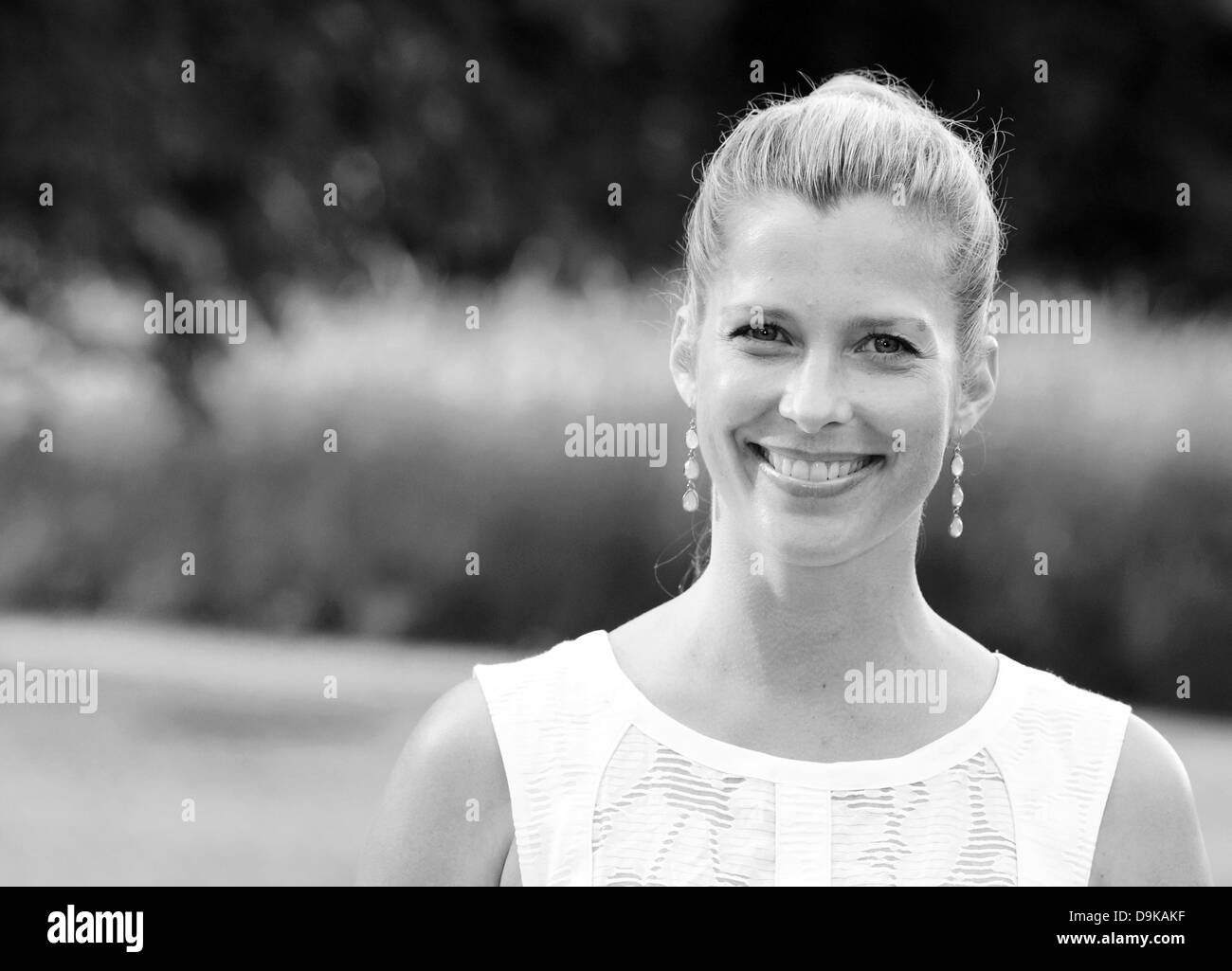 Actress Valerie Niehaus arrives at a soiree for the preselection of the International Emmy Award, the most important - Stock Image