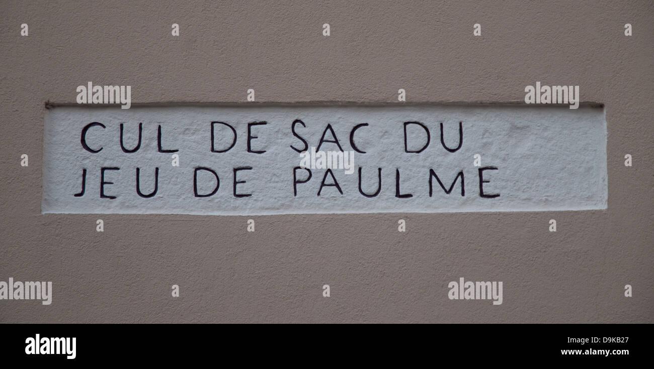 Street sign reading CUL DE SAC DU JEU DE PAULME near Autun Cathedral Burgundy France - Stock Image