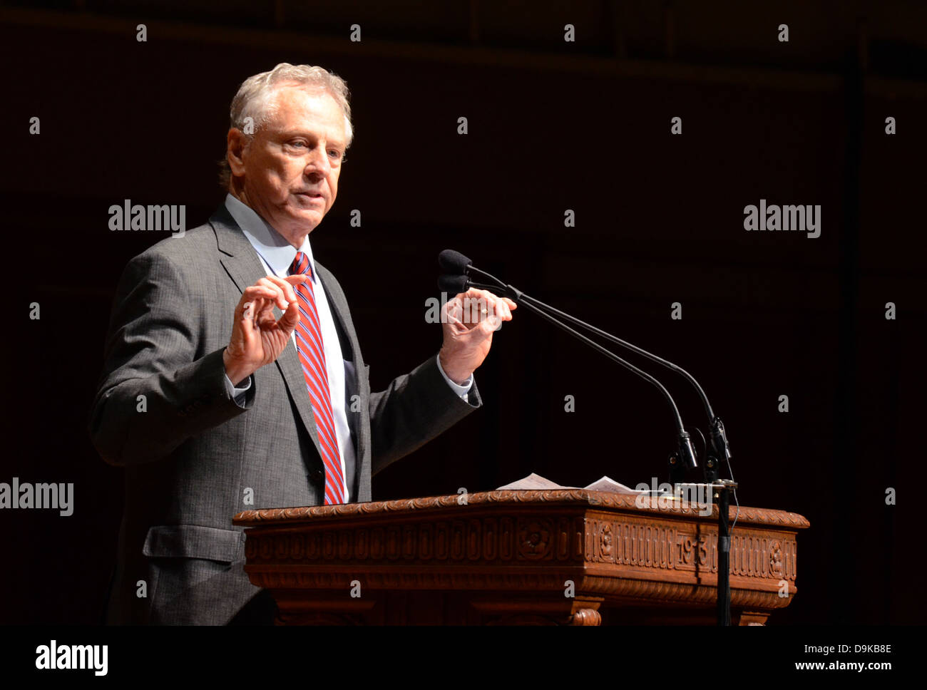 ANN ARBOR, MI-JAN. 21:Morris Dees, co-founder of the Southern Poverty Law Center, delivers the keynote speech at - Stock Image