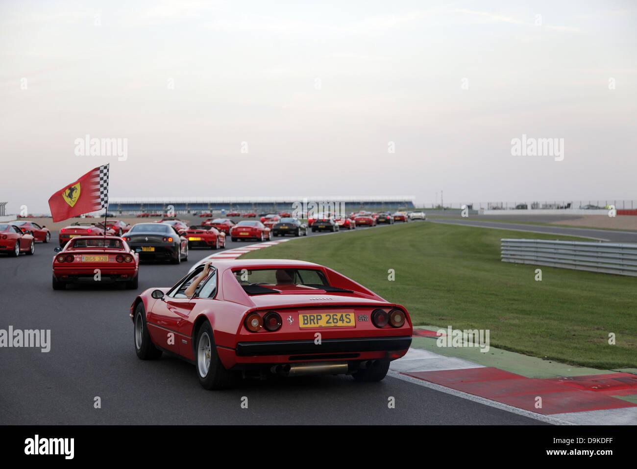 RED FERRARI 308 GTB CAR FERRARI WORLD RECORD FERRARI WORLD RECORD SILVERSTONE GRAND PRIX CIRCUIT ENGLAND ENGLAND - Stock Image