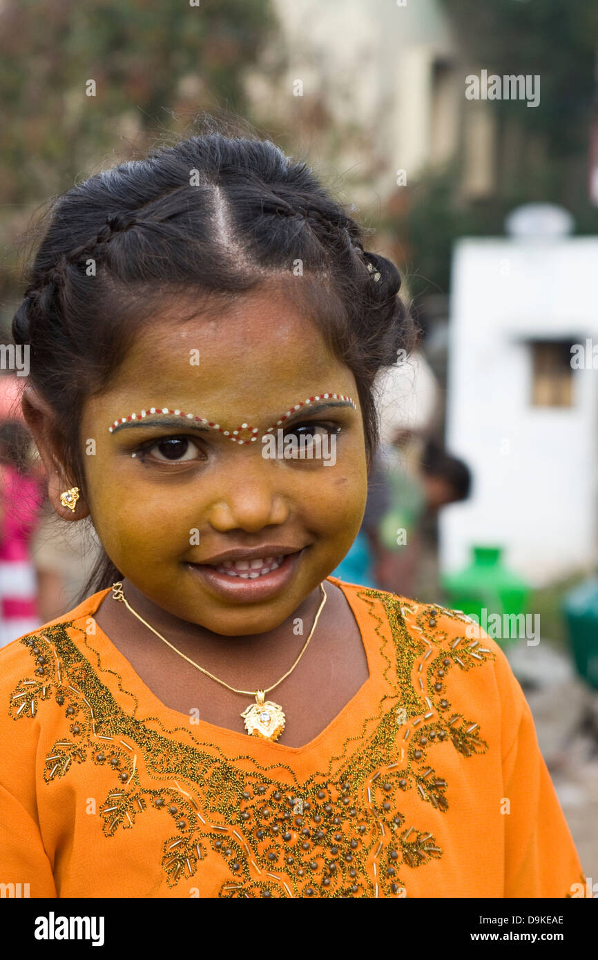 Asia, India, Tamil Nadu, Vellore, Portrait of an Indian girl with traditional painting Stock Photo