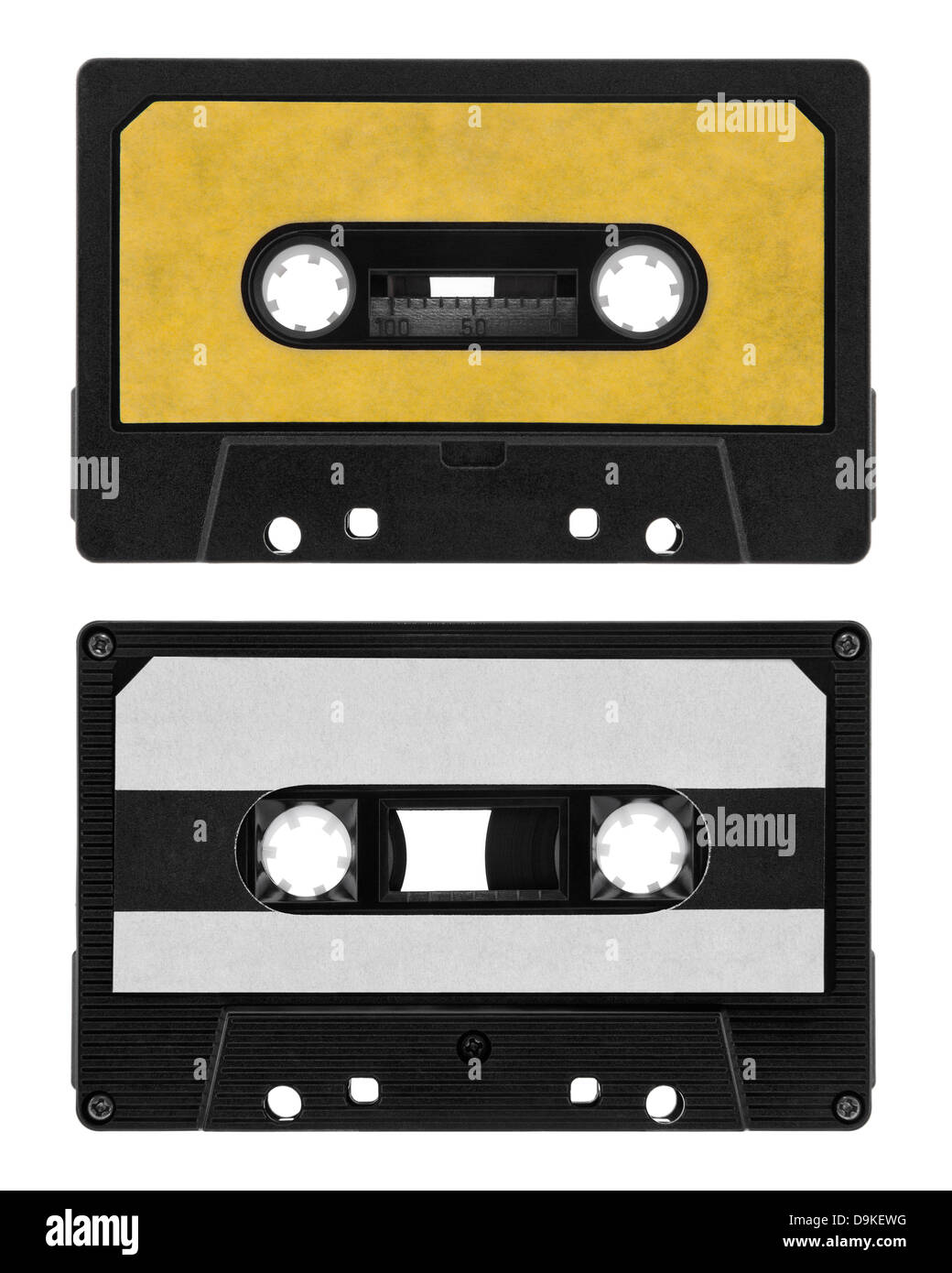 Old cassette tape isolated on white - Stock Image