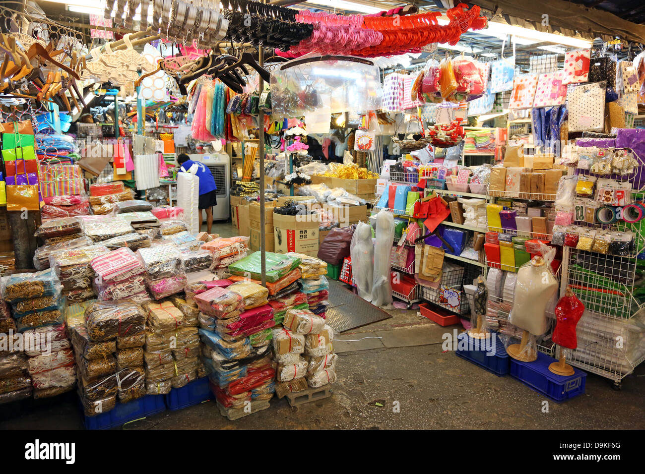 Stalls at Chatuchak Weekend Market, the largest market in Thailand, Bangkok, Thailand - Stock Image