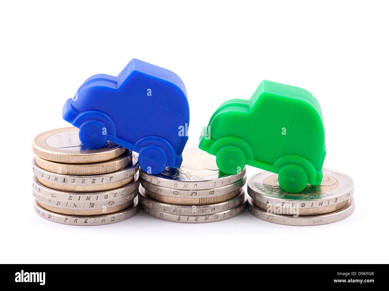 Euro coins and cars - Stock Image