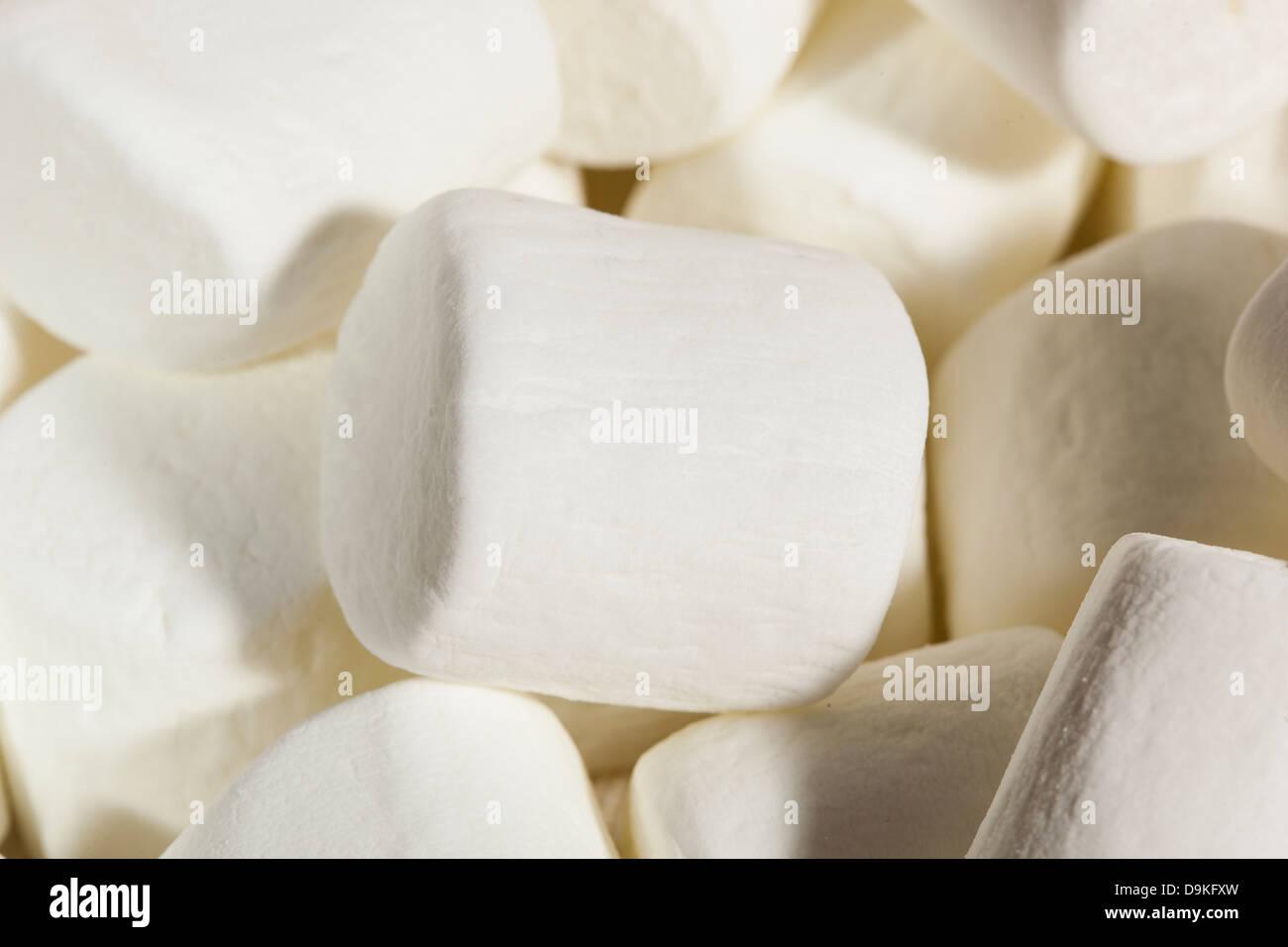 Delicious White Fluffy Round Marshmallows ready to eat Stock Photo