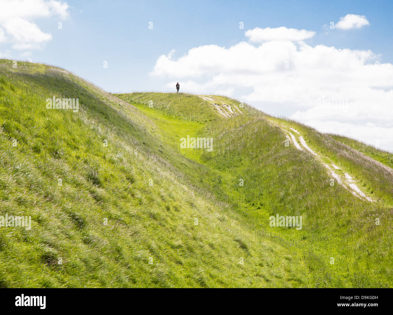 Solitary walker on the chalk earthworks of iron age hill fort Bratton Camp near Westbury in the Wiltshire Downs Stock Photo