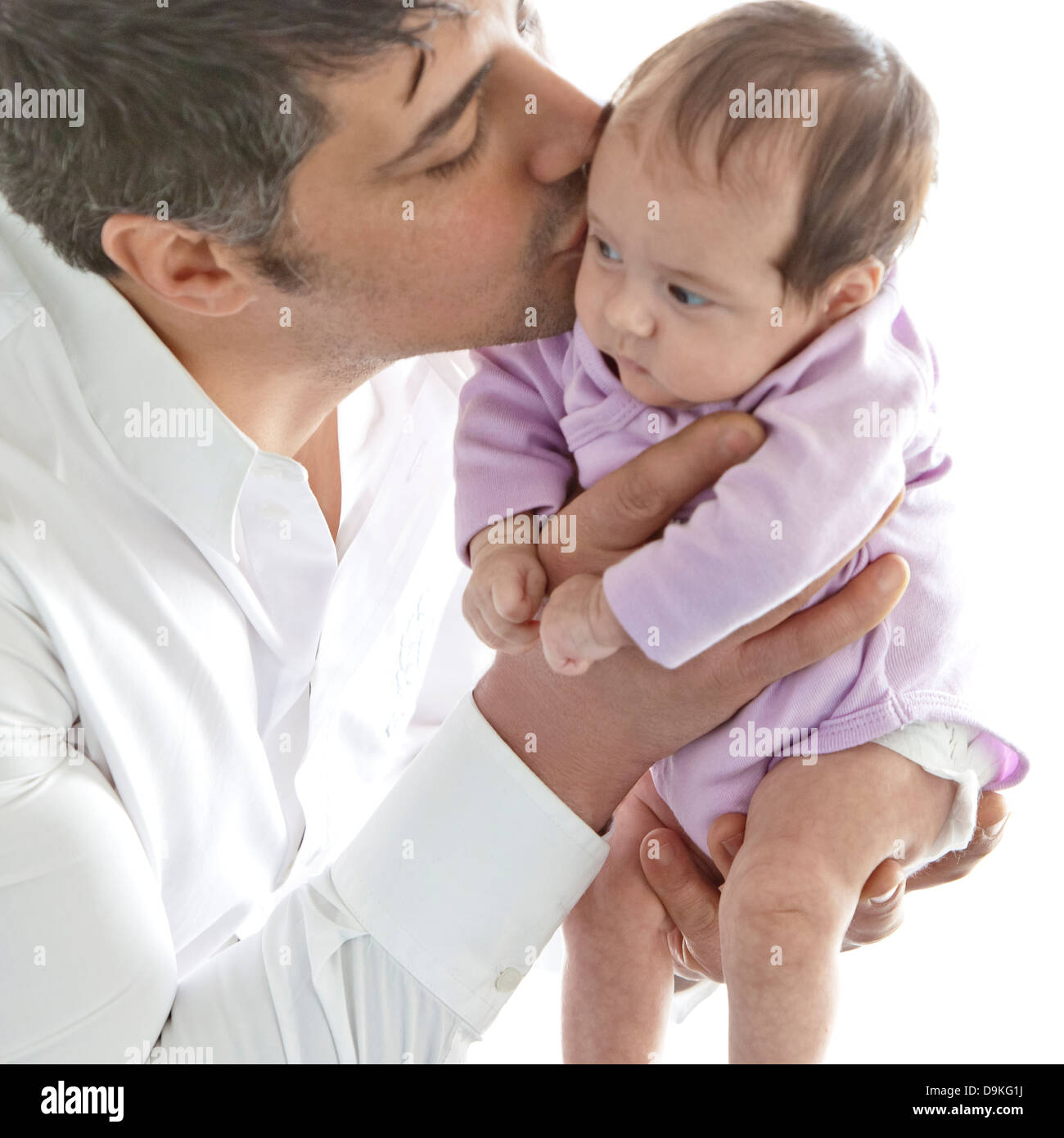father and newborn baby girl - Stock Image
