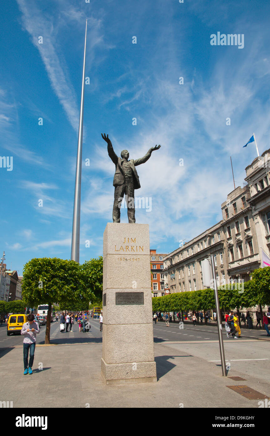Statue of Irish patriotic labour leader Jim Larkin along O'Connell street lower central Dublin Ireland Europe - Stock Image