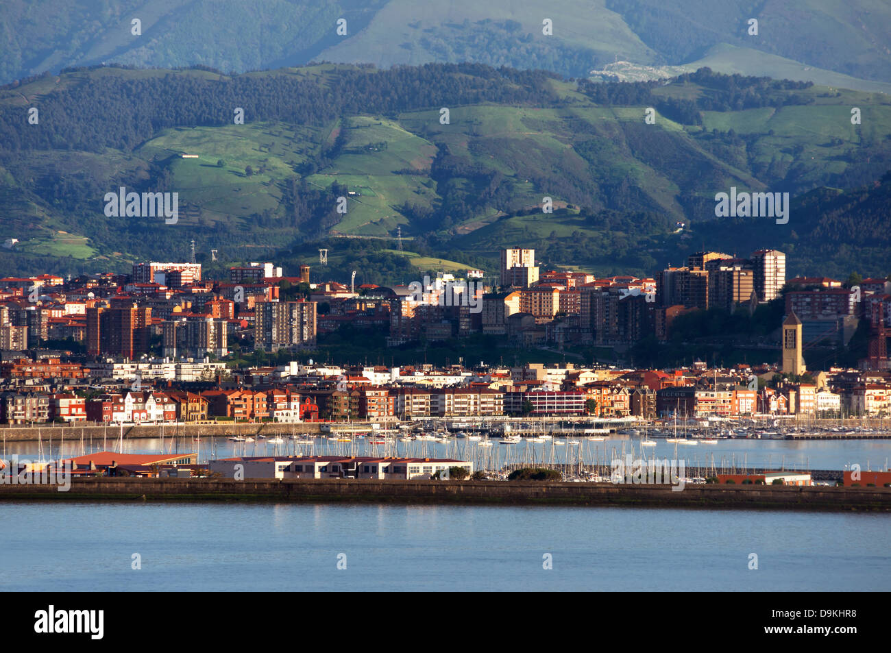 view of Getxo and Portugalete village with promenade. Biscay, Basque Country, Spain Stock Photo