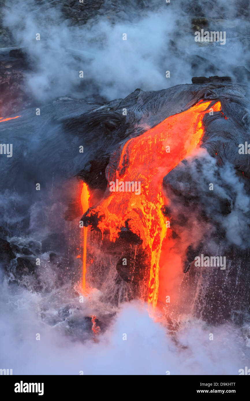 Kilauea Lava Flow, Kalapana, Big Island, Hawaii, USA - Stock Image