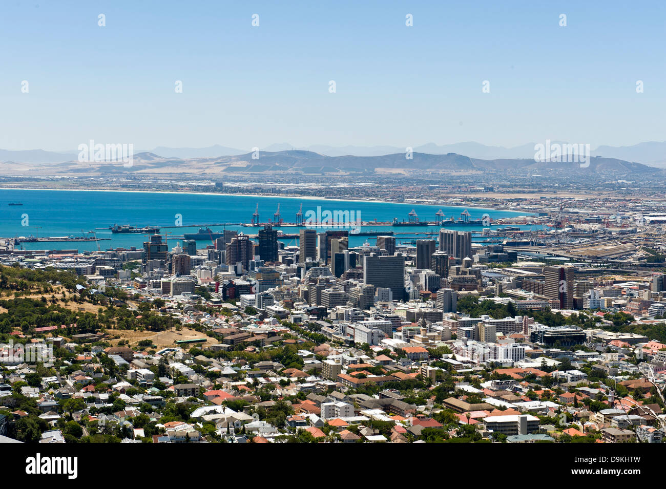 Skyline Cape Town and harbor, South Africa - Stock Image