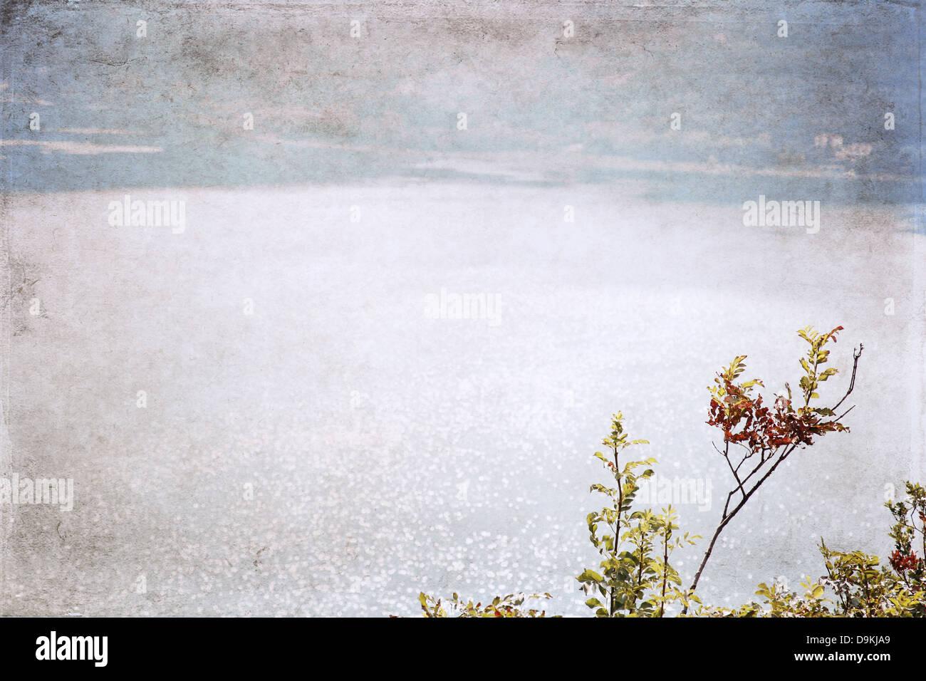 image in grunge style, lake Stock Photo