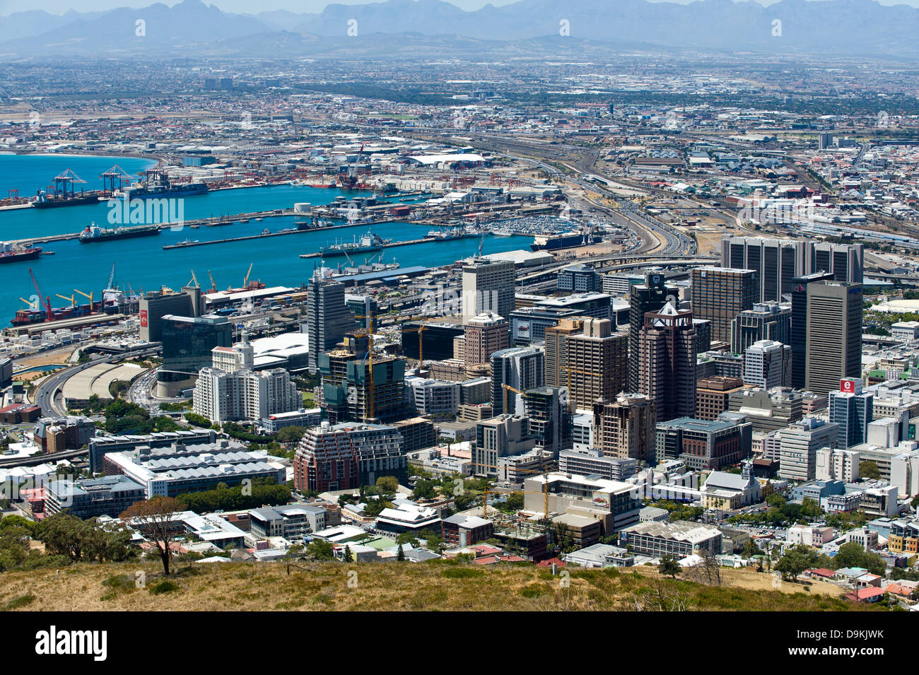 Skyline Cape Town and harbor, Western Cape, South Africa - Stock Image