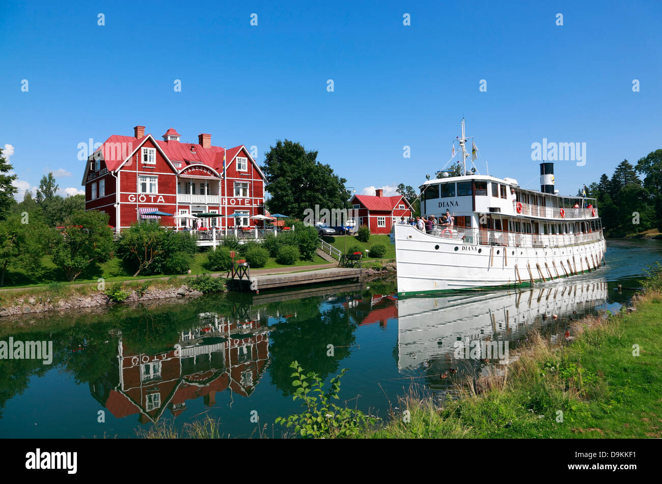 Old passenger steamship DIANA on the Gota Canal at Borensberg, infront of GOETA-HOTELL, Sweden, Scandinavia - Stock Image