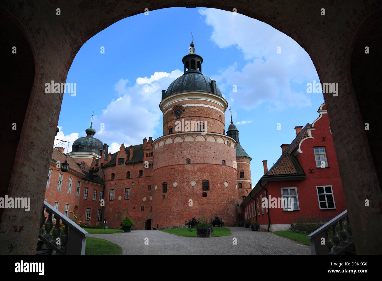GRIPSHOLM Castle at lake Malaren, inner courtyard, Mariefred, Sodermanland, Sweden, Scandinavia - Stock Image