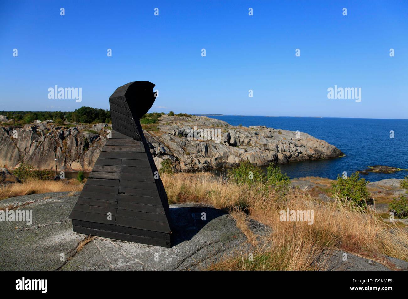 Art-Objekt, Artist Ole Drebold, Landsort Island (Oeja), Stockholm Archipelago, baltic sea coast, Sweden, Scandinavia - Stock Image
