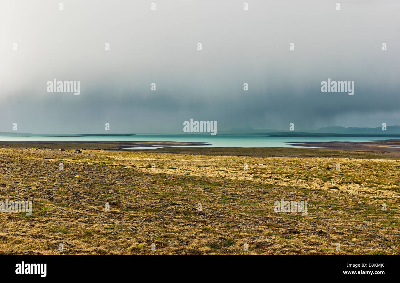 Field and lake in barren landscape, Road 35, Blondulon, Iceland - Stock Image