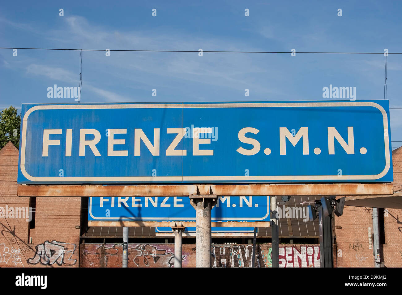 A train station platform sign for Firenze S.M.N. (Florence Santa Maria Novella) - the main railway station in Florence, - Stock Image