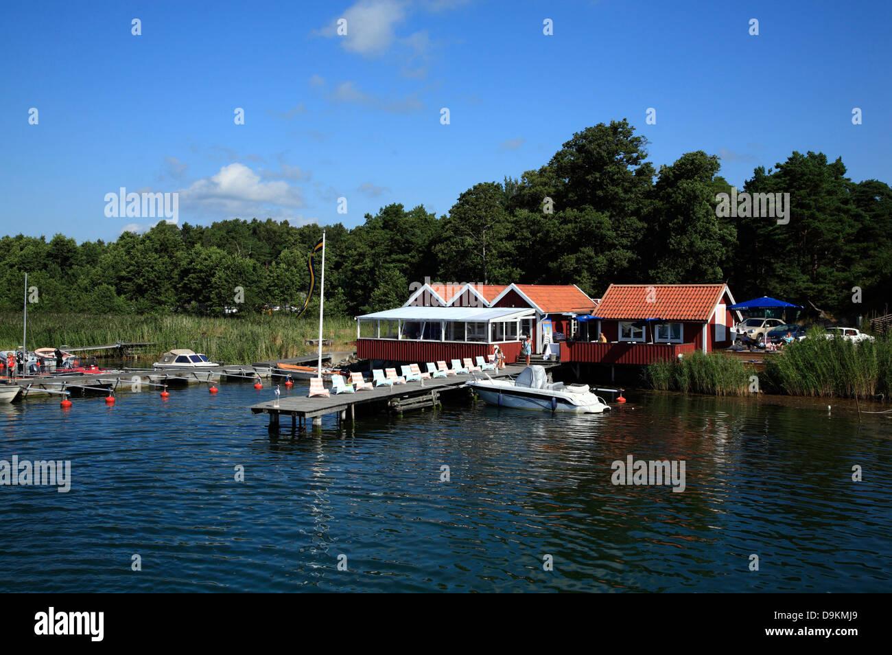 Toroe Island,  Ankarudden harbor, Stockholm Archipelago, baltic sea coast, Sweden, Scandinavia - Stock Image