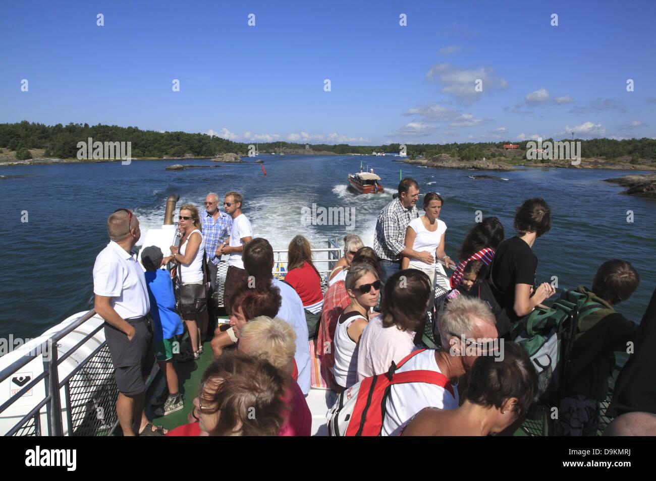 Toroe Island,ferry to Landsort Island (Oeja), Stockholm Archipelago, baltic Sea coast, Sweden, Scandinavia - Stock Image