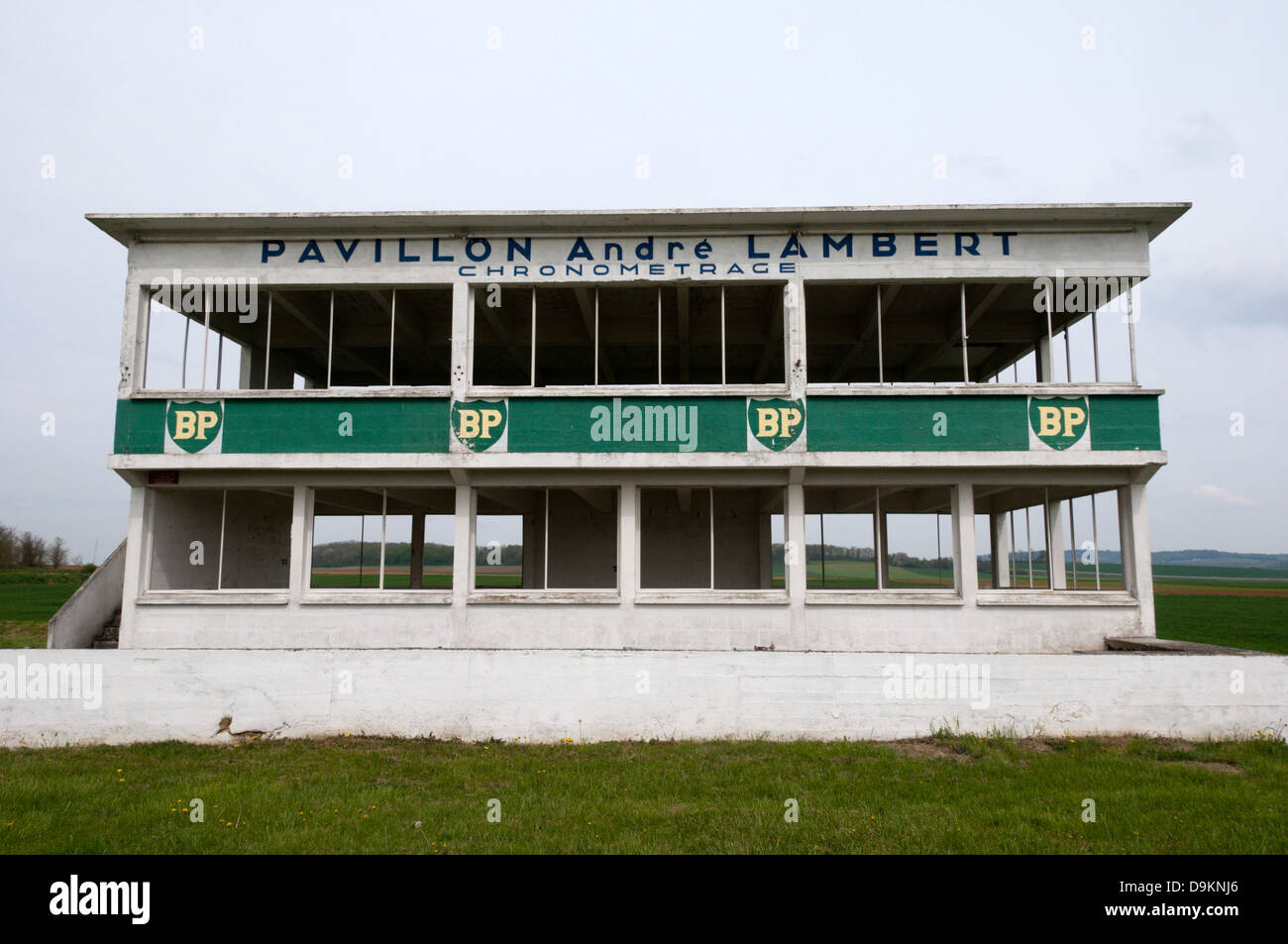 The remains of the old lap timing building of the Reims-Gueux Racing Circuit in northern France. Stock Photo