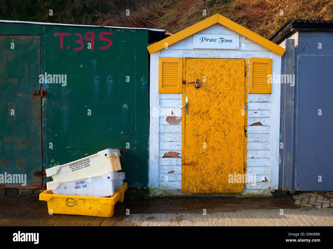 Fisherman Hut at The Harbour, Tramore, County Waterford, Ireland - Stock Image