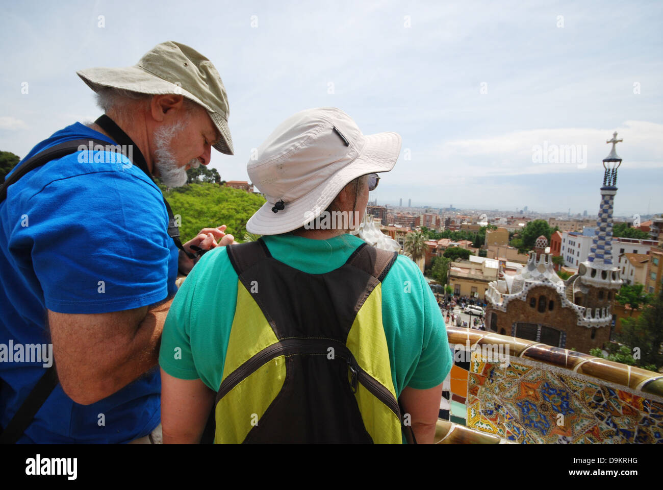 tourists in Parc Guell with view over Barcelona Spain Stock Photo