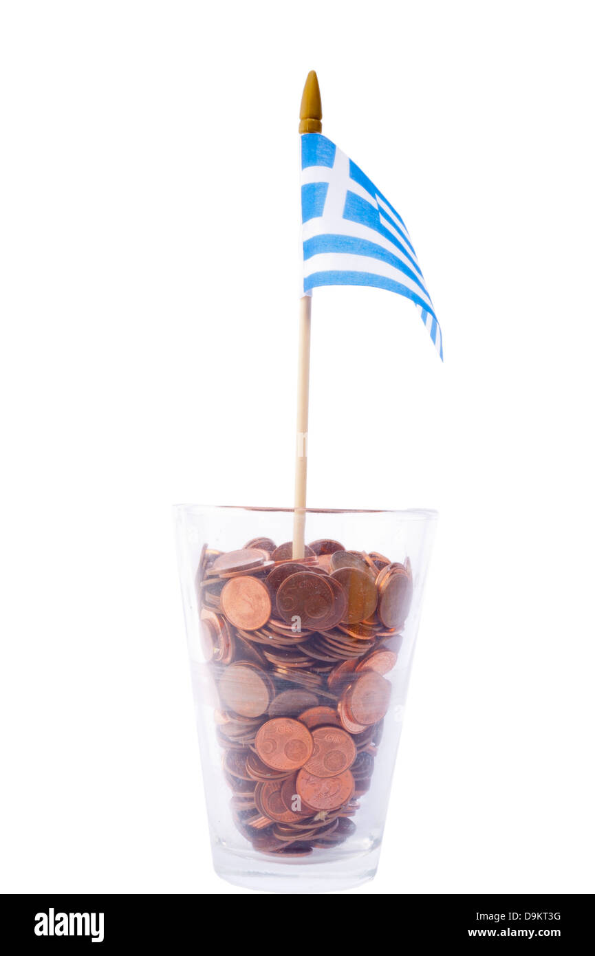 the Greek flag in glass filled with coins - Stock Image