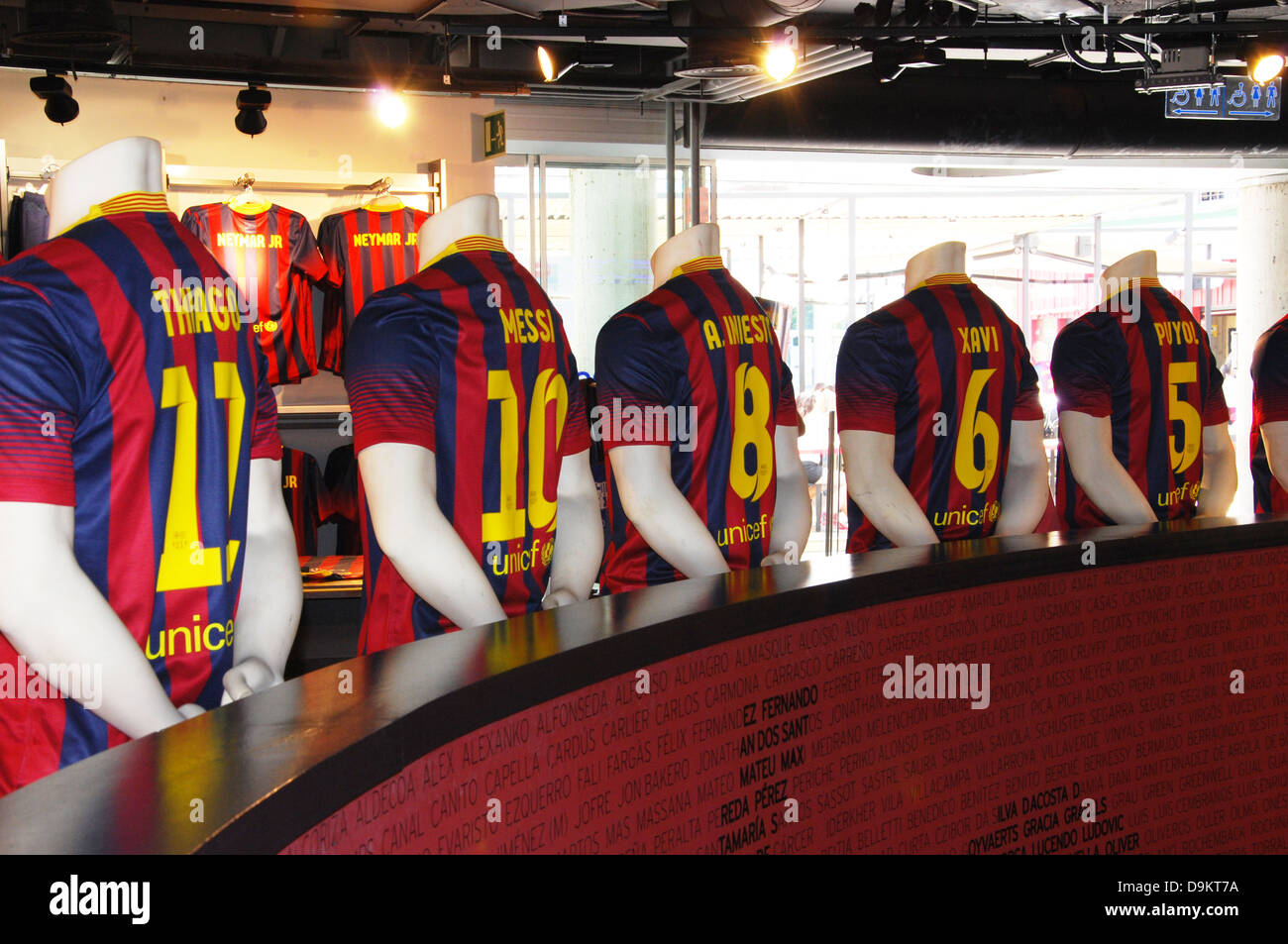 fan shop in Camp Nou Barcelona Europe - Stock Image
