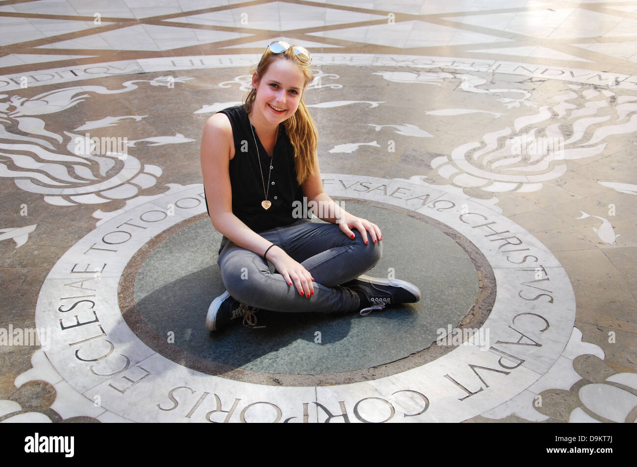young woman at Montserrat monastery near Barcelona Spain Stock Photo
