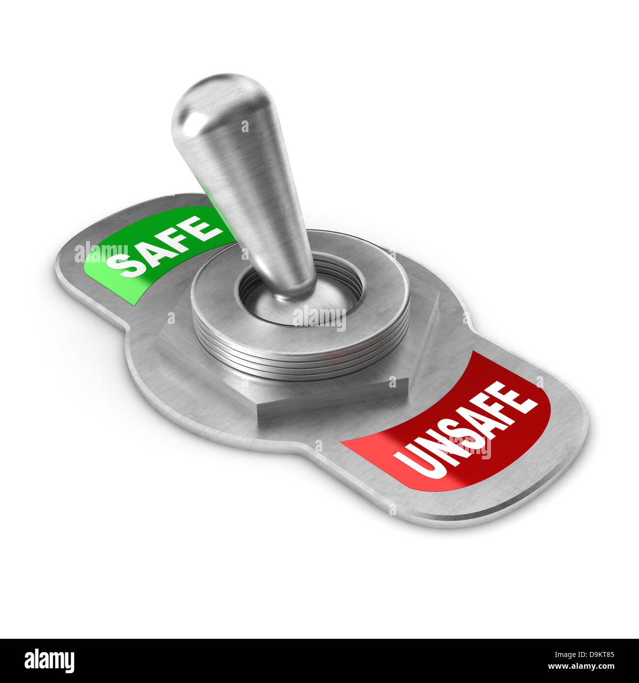 A Colourful 3d Rendered Safe vs Unsafe Concept Switch - Stock Image