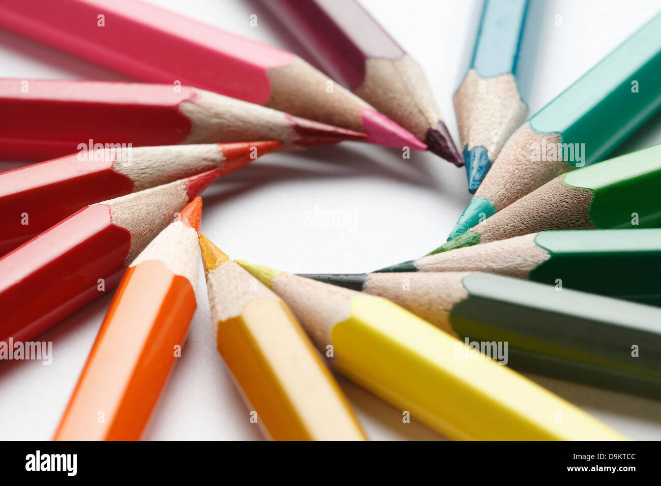 Colored Pencil arranged in a circle - Stock Image