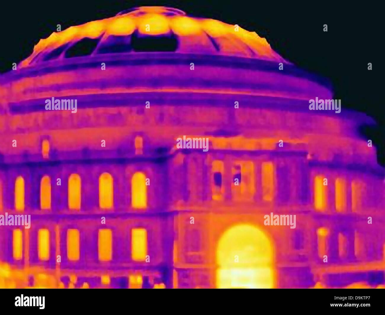 Ultraviolet light of Royal Albert Hall, London - Stock Image