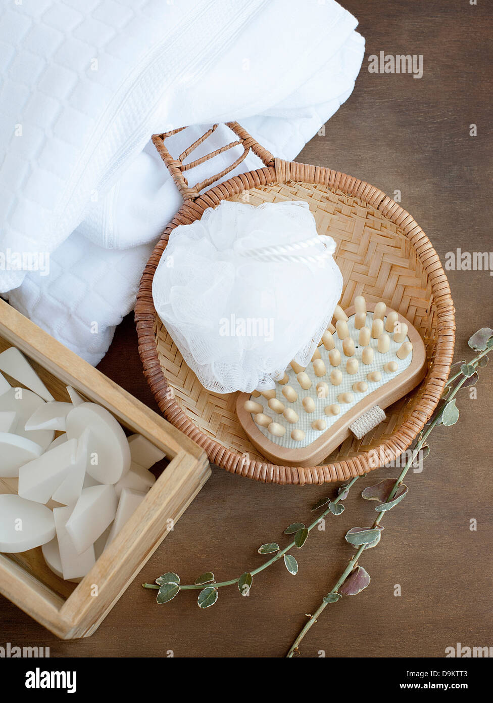 Bathtime beauty products and toiletries, overhead view - Stock Image